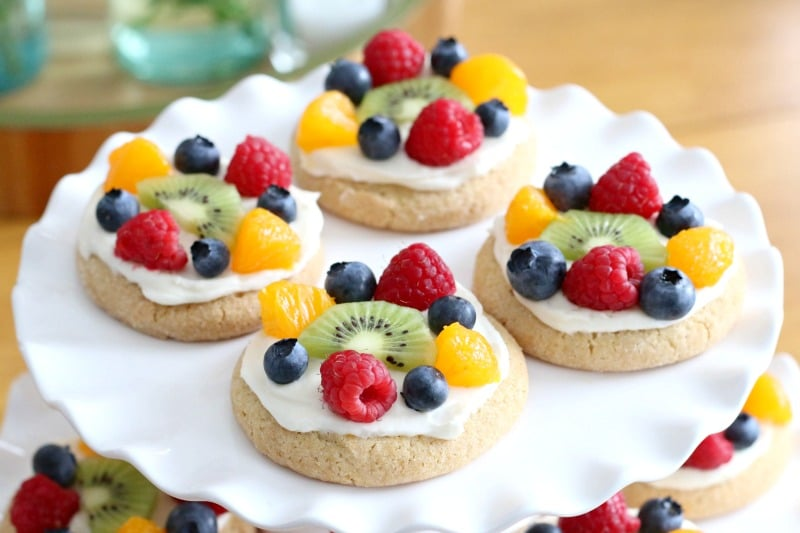 fruit pizza on a white plate