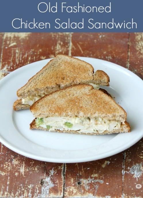 Old Fashioned Chicken Salad Sandwich on white plate