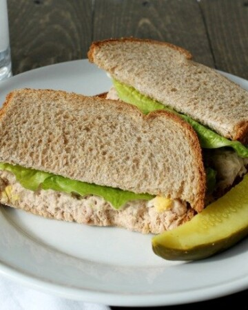 I make this delicious Tuna Salad Sandwich with the best whole wheat bread with no preservatives or additives, homemade mayonnaise and topped with lettuce. It's also great just on lettuce leaves if you're watching your carbs. Whatever way you chose to serve it, it's going to be delicious AND you can feel good about making a healthier decision for lunch!
