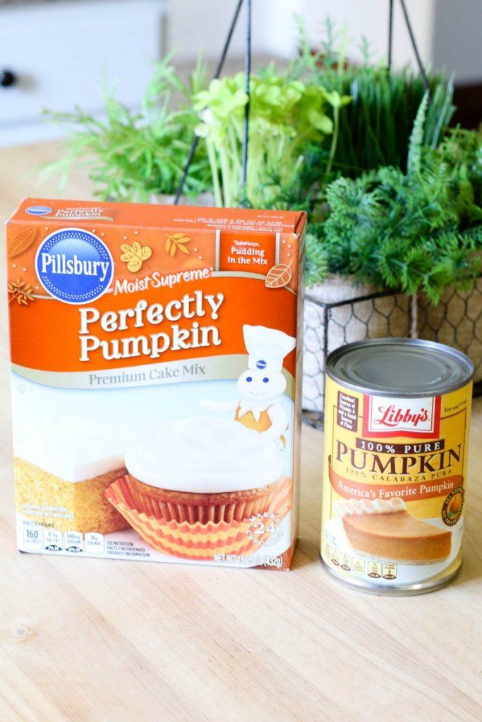box of pumpkin cake mix