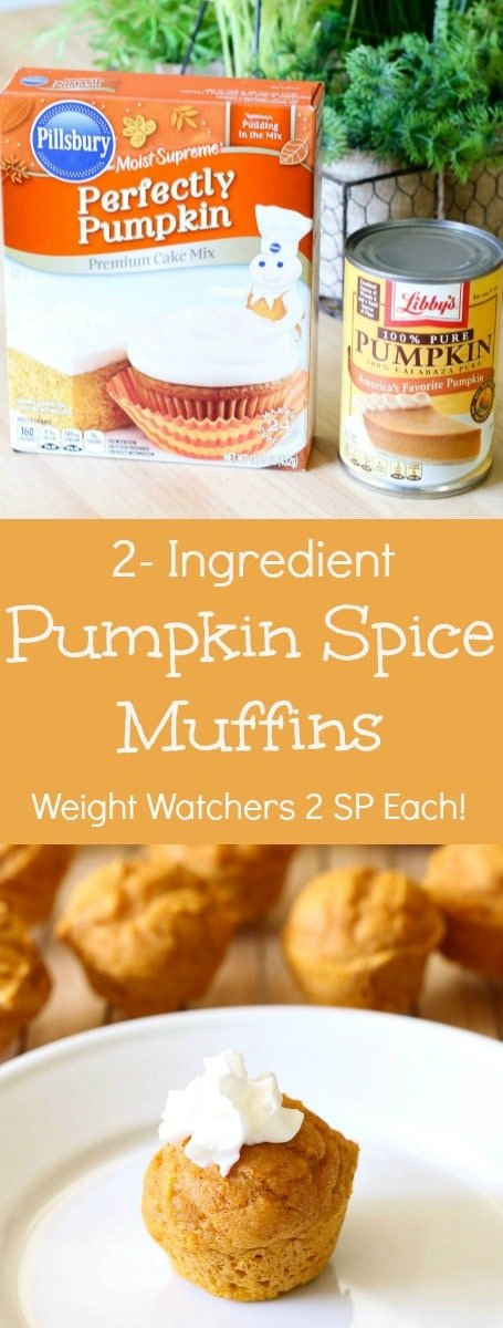 YUM! These 2-Ingredient Pumpkin Muffins are amazing!! AND only 2 Weight Watchers Smart Points each!