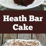 A doctored up cake mix and a few other store bought ingredients makes this Heath Bar Cake super easy to make and a complete hit every time!