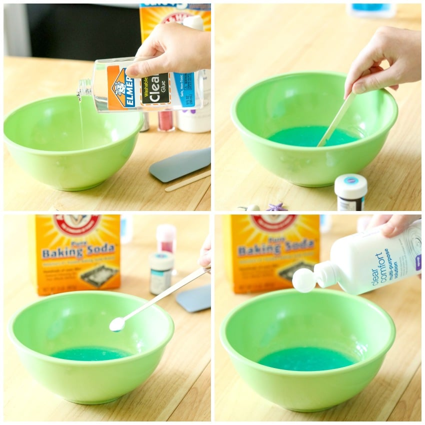 adding glue and other ingredients to make saline slime recipe