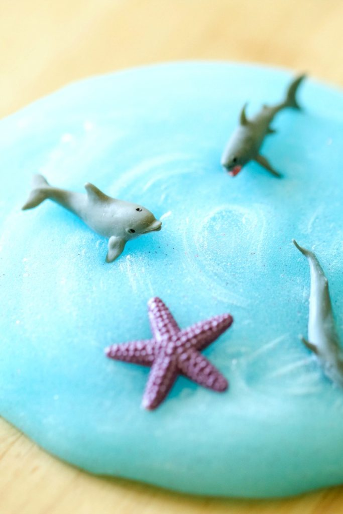 blue slime with sharks and ocean animals