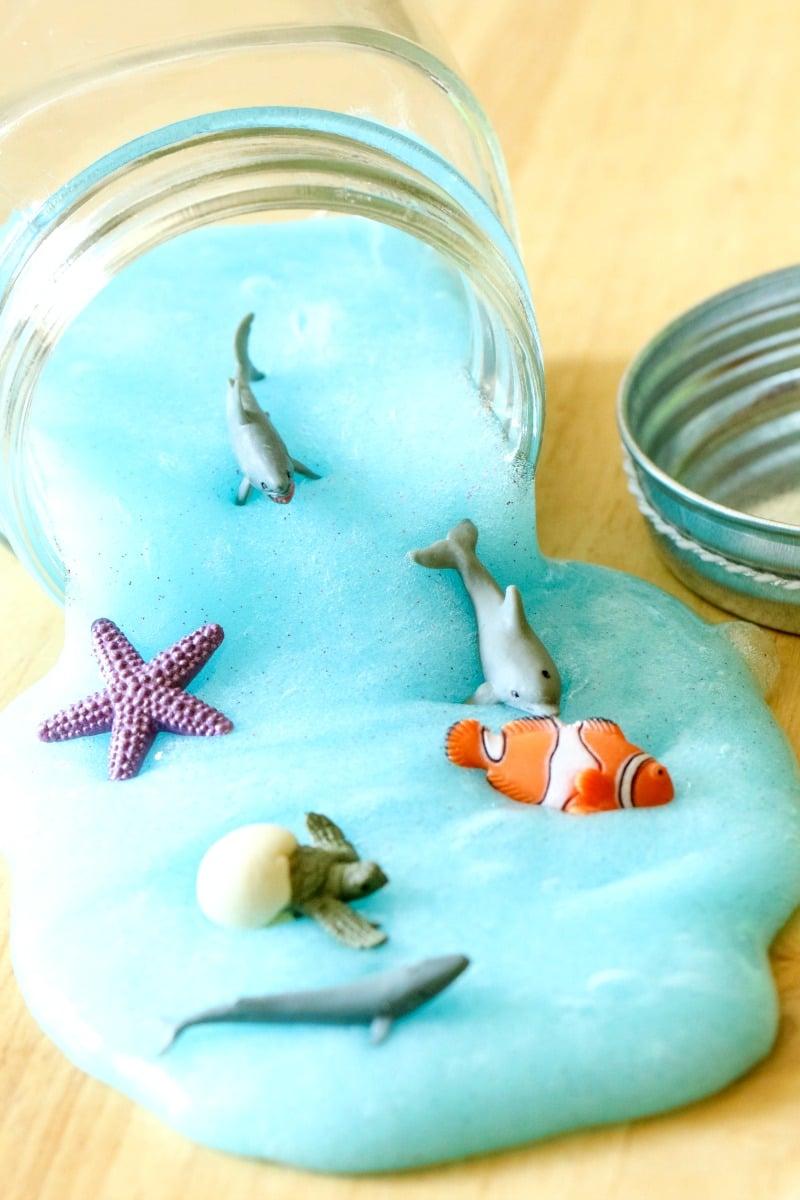 Kid Summer Crafts - Ocean Slime - All Things Mamma