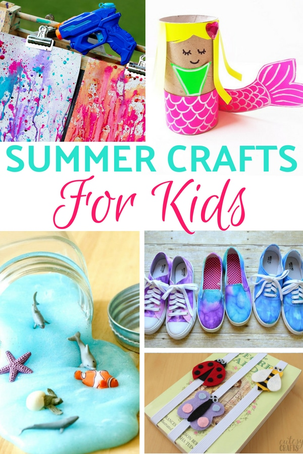 collage of images of summer crafts for kids
