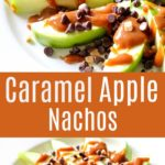 This Caramel Apple Nachos Recipe Is A Quick & Easy Dessert Recipe everyone will love! Slice Green Apples, Drizzle In Caramel And Top With Chocolate Chips And Toffee Bits – It Tastes Just Like A Caramel Apple, But Much Easier to Make In NO Time!