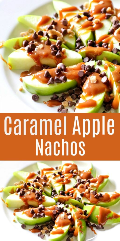 Caramel apple nachos topped with chocolate chips and melted caramel.