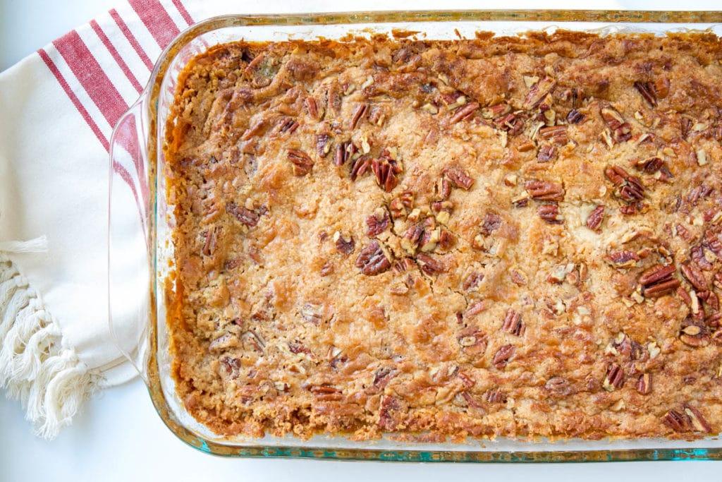 pumpkin dump cake in pan