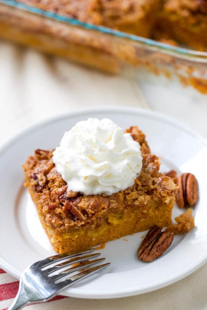 pumpkin dump cake on a plate