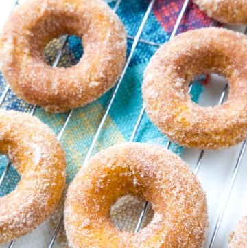 These Baked Pumpkin Spice Donuts, topped with cinnamon-sugar, are the ultimate easy fall dessert!#pumpkin #dessert #donuts #falldessert | allthingsmamma.com
