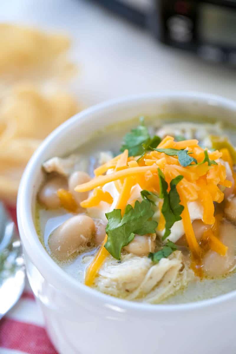 bowl of crockpot white bean chicken chili