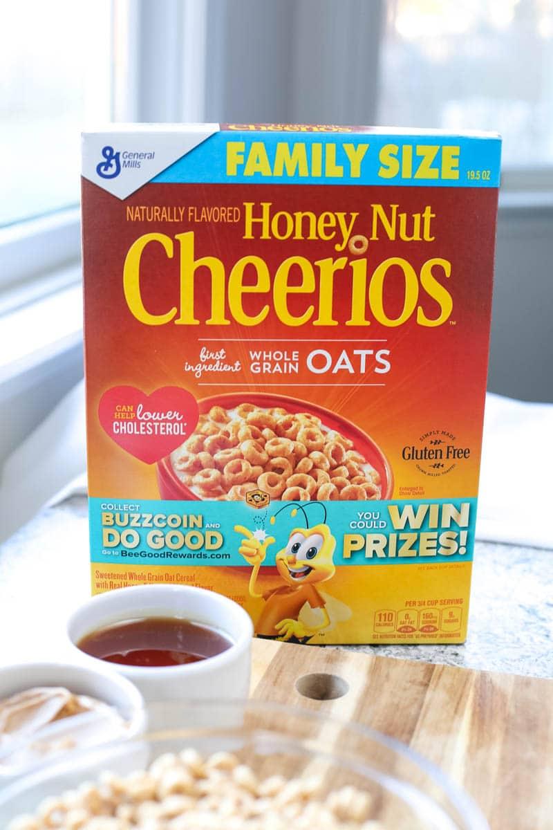 cereal box of honey nut cheerios