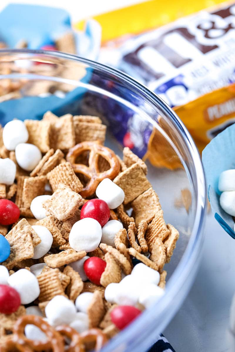 snack mix with m&ms