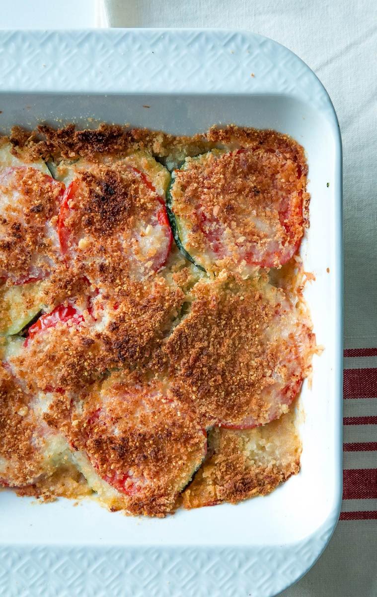 zucchini recipe in a casserole baking dish