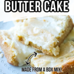 pinnable image with words ooey gooey butter cake