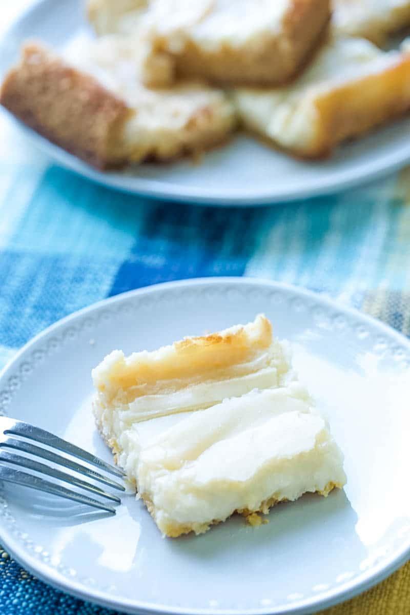 plate of ooey gooey butter bars