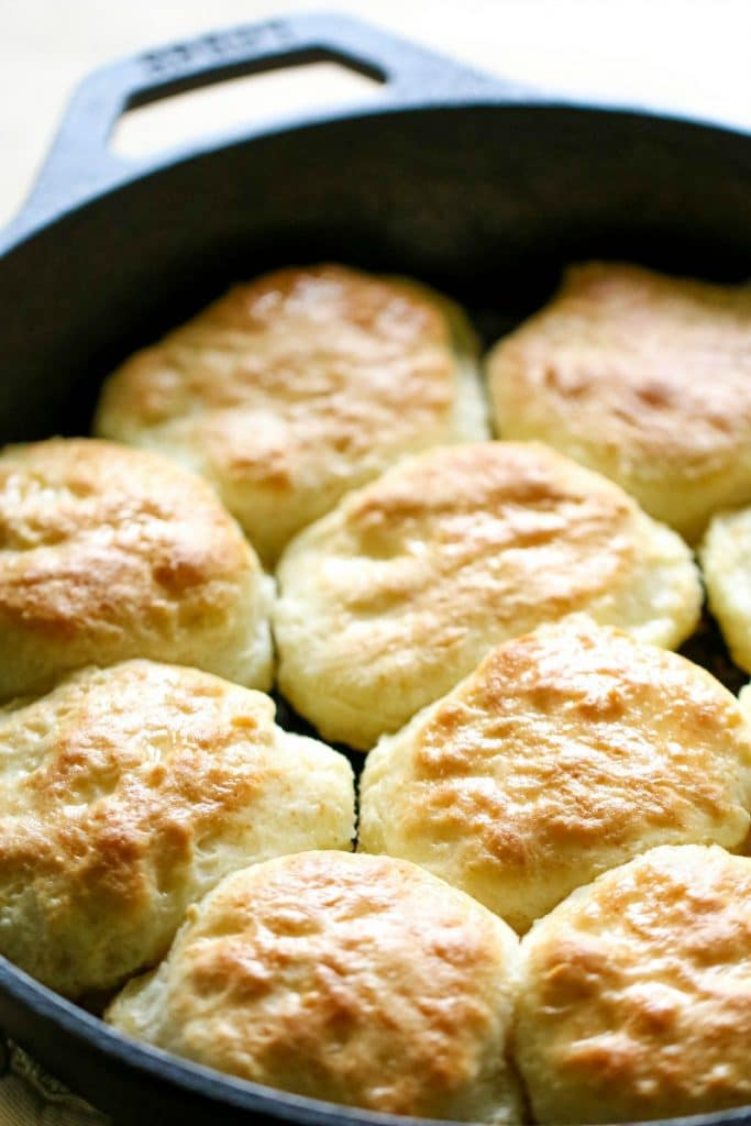 Bisquick Biscuits in an iron skillet