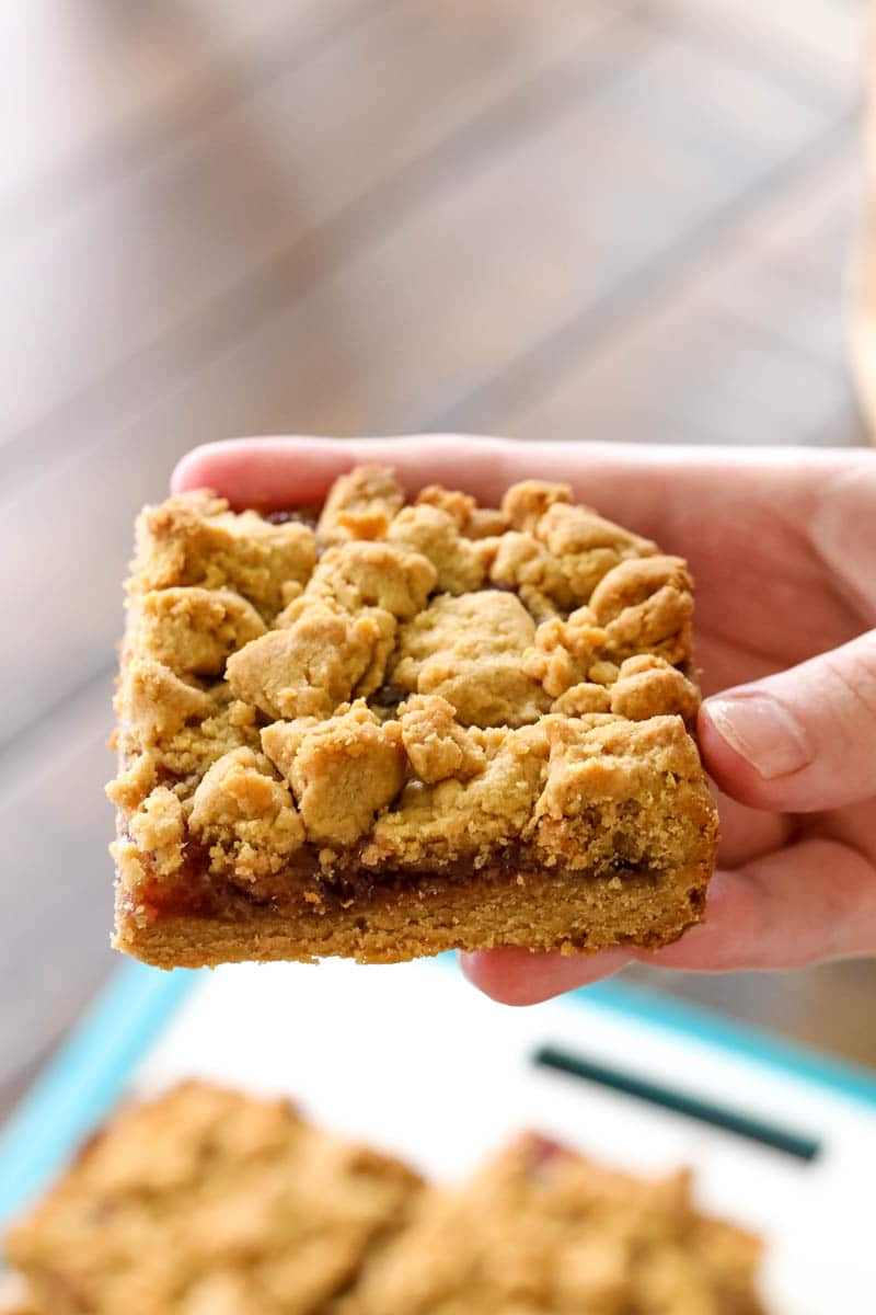 a piece of peanut butter and jelly bars