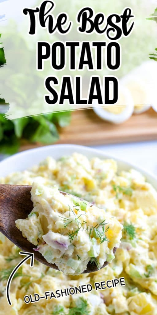 Pinnable image of the best potato salad.