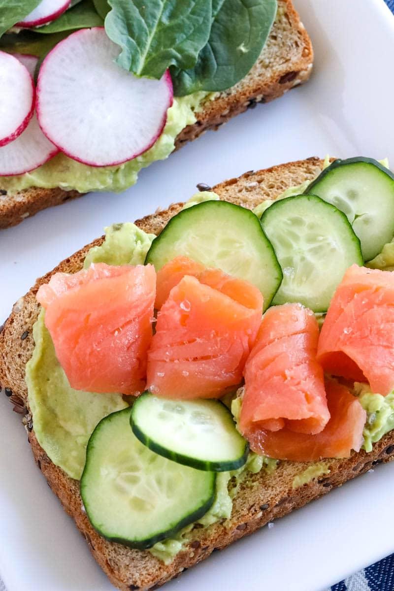 salmon on avocado toast