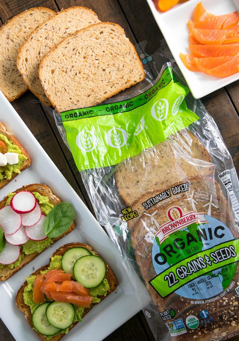 avocado toast with fresh veggies