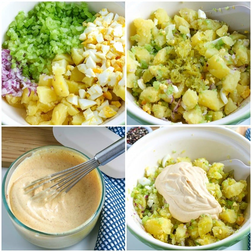 Step by step images on how to make potato salad.