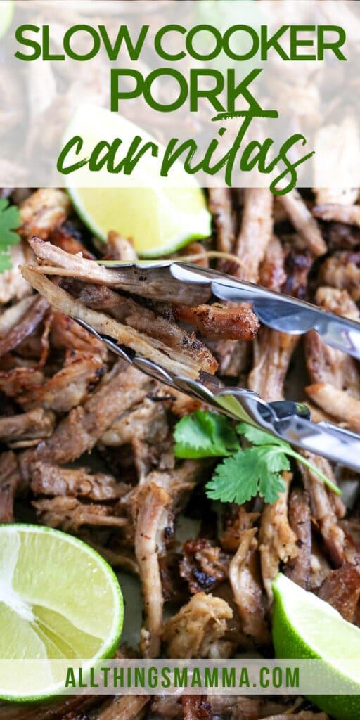 tender slow cooker pork carnitas with tongs