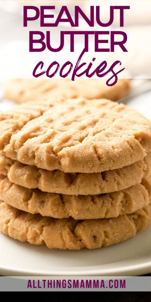 peanut butter cookies on a stack on white plate