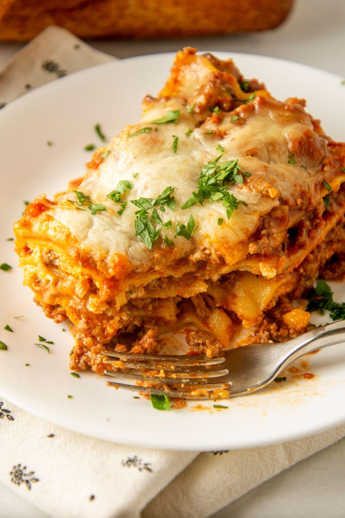 crock pot lasagna on white plate