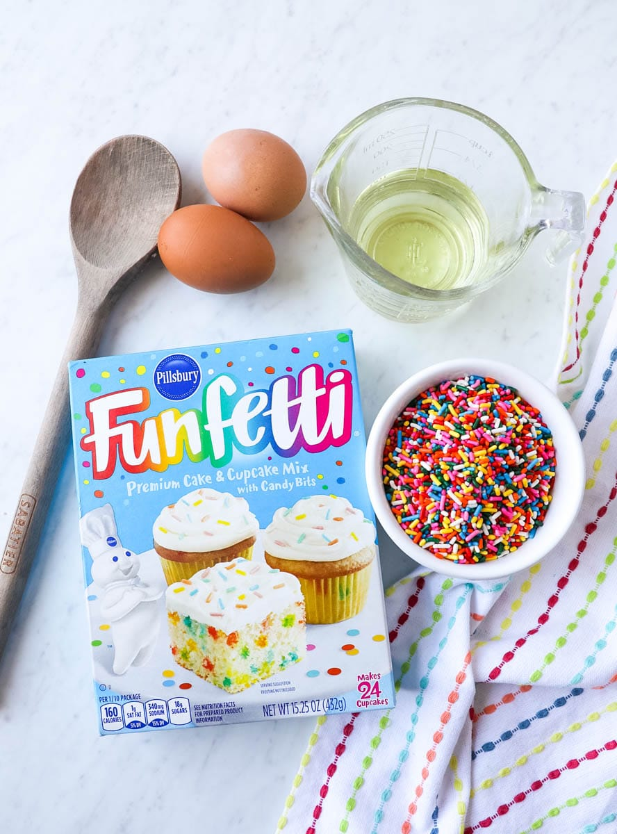 funfetti cookie ingredients - cake mix, oil, eggs, sprinkles