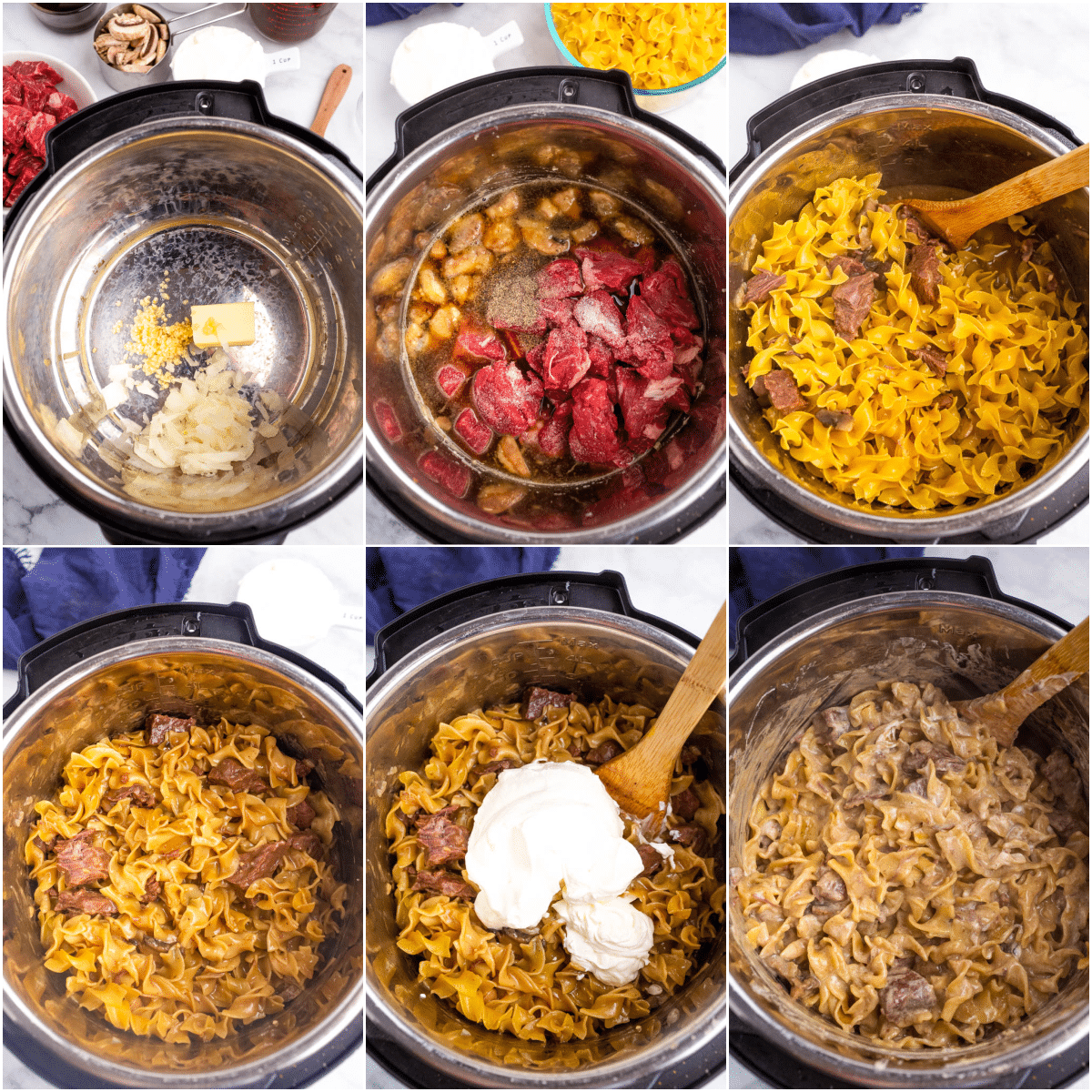 collage of how to images showing steps to make instant pot beef stroganoff