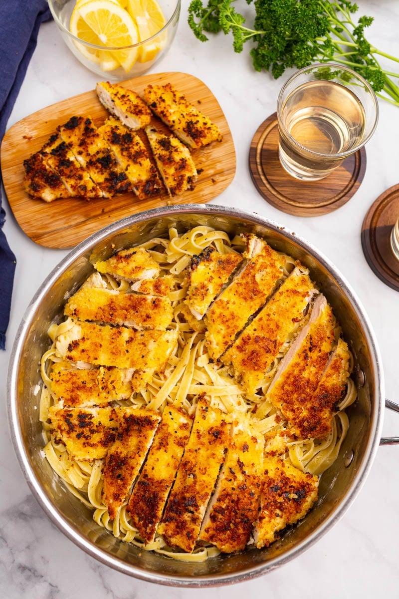 chicken pasta in a skillet