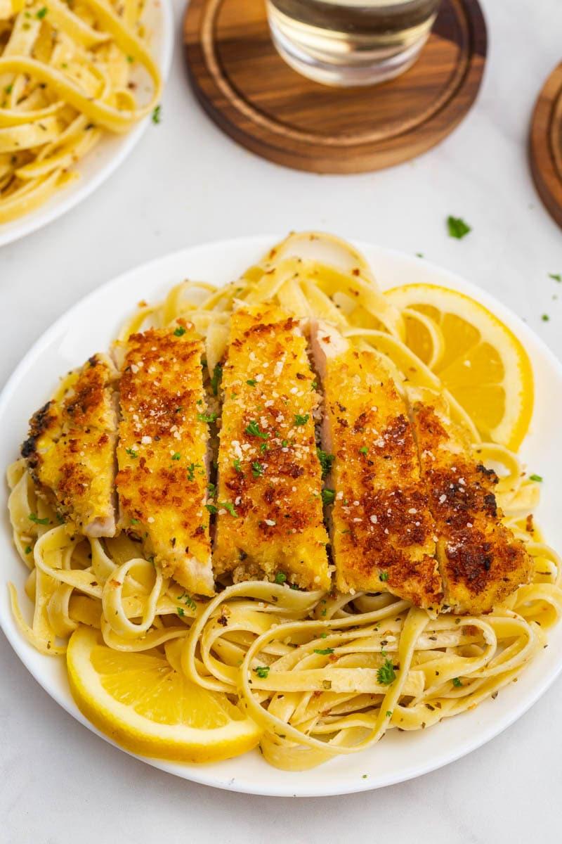 lemon garlic chicken pasta on a plate