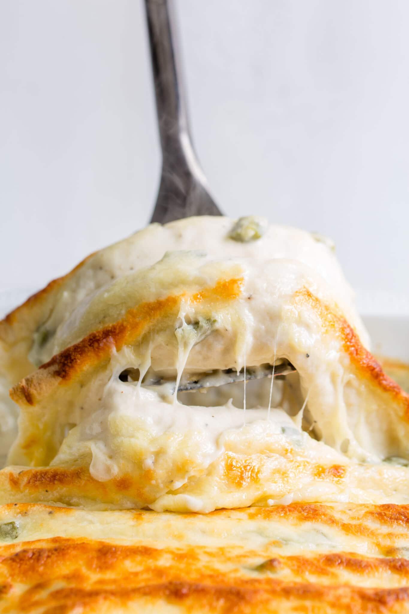 Enchilada Freezer Cooking Recipe, closeup on fork