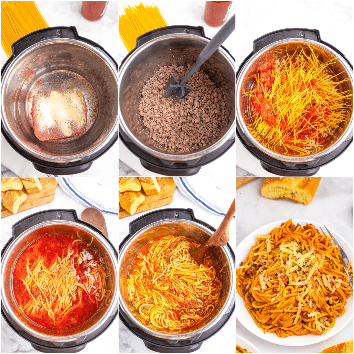 top down photos of instant pot spaghetti steps