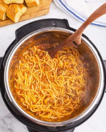 top view of spaghetti in an instant pot