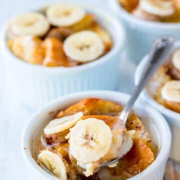 Banana Bread Pudding in white bowl