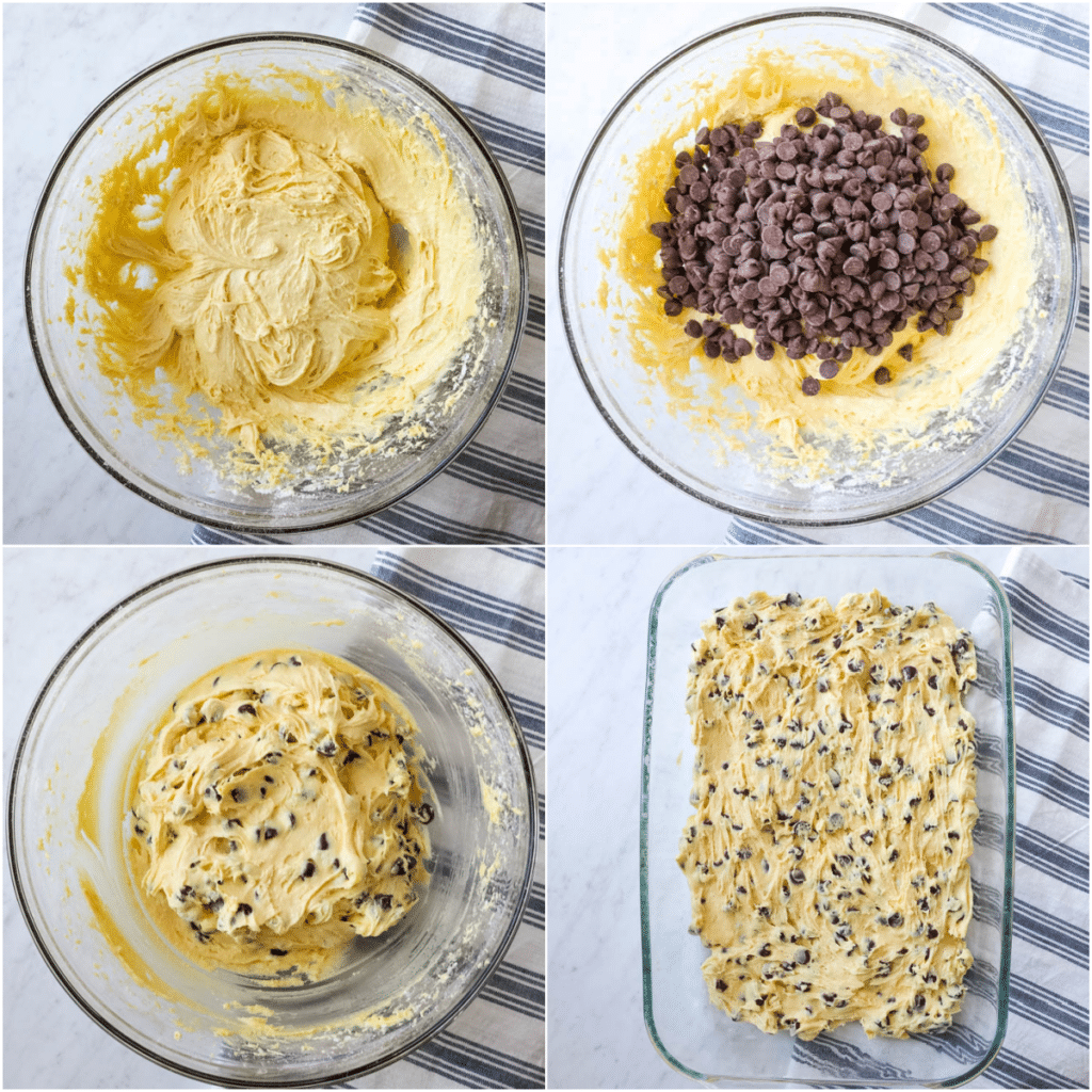 Four pictures show the steps of making cake mix bars.