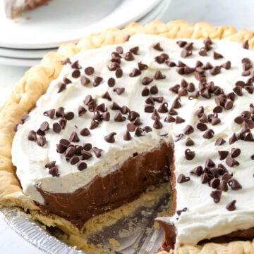 Chocolate Cream Pie in pie plate