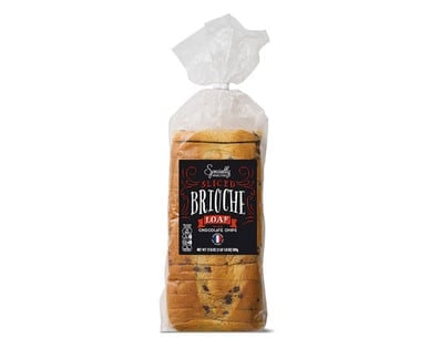 Loaf of Specially Selected Chocolate Chip Brioche from Aldi.