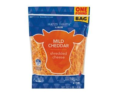 Bag of Happy Farms Shredded Mild Cheddar Cheese from Aldi.
