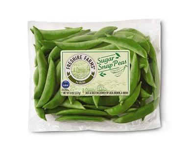 Fresh package of Freshire Farms Sugar Snap Peas from Aldi.