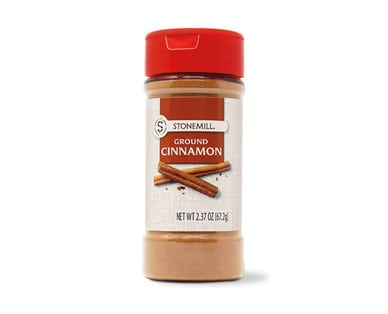 Container of Stonemill's Ground Cinnamon spice from Aldi.
