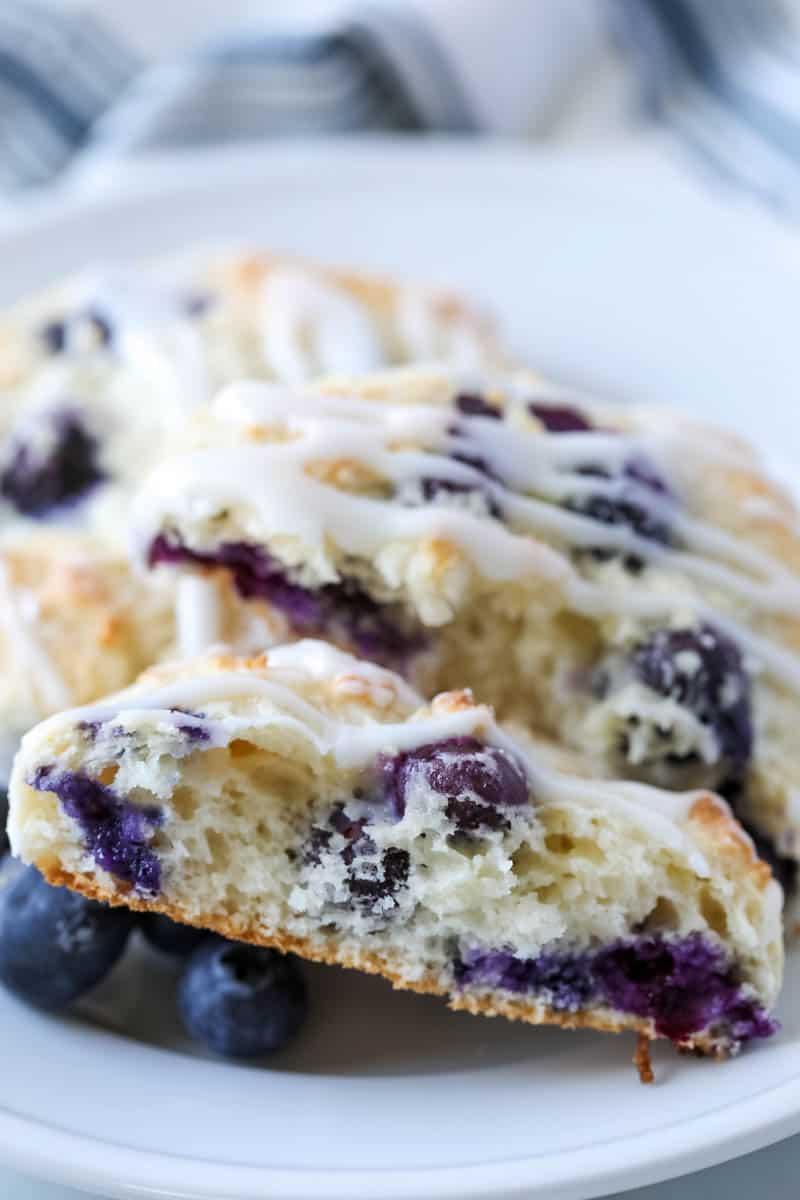 Bisquick Blueberry Biscuits on white plate