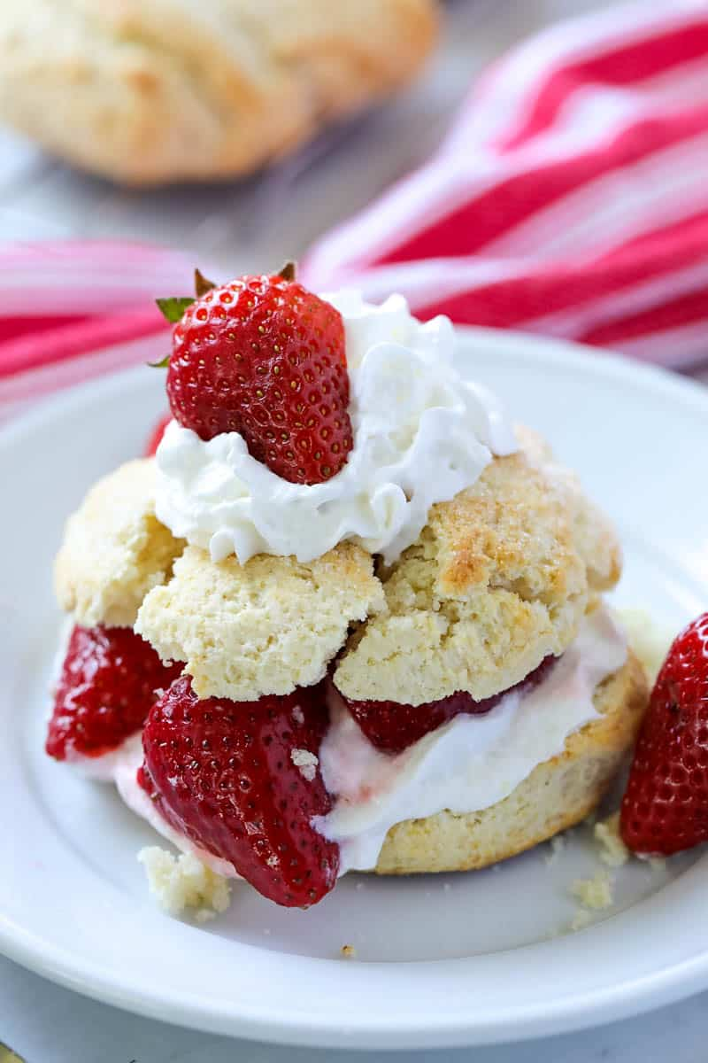 strawberry shortcake with whipped cream and strawberries on a white plate