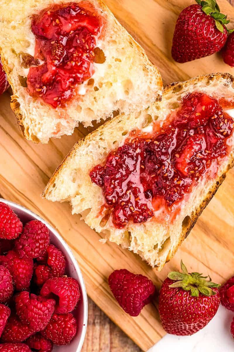 jam spread on bread on a table