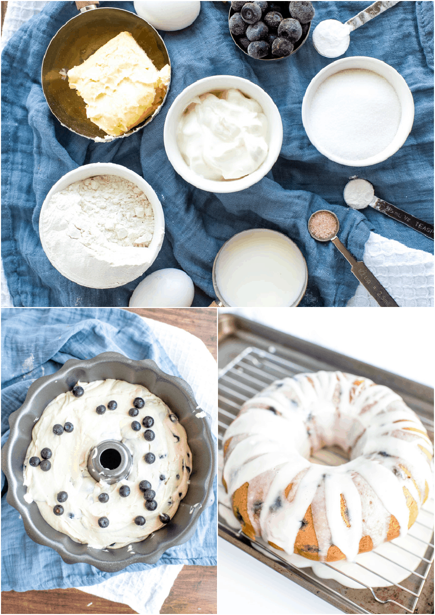 ingredients and steps for blueberry bundt cake