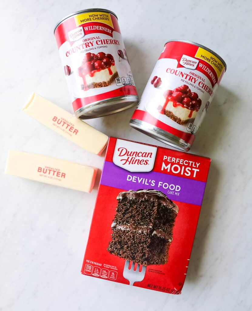 ingredients for dump cake on a white background.