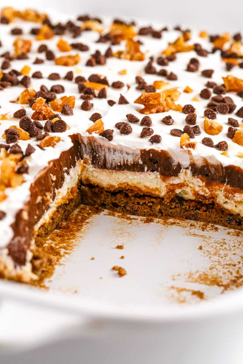 layers of chocolate chip cookie delight